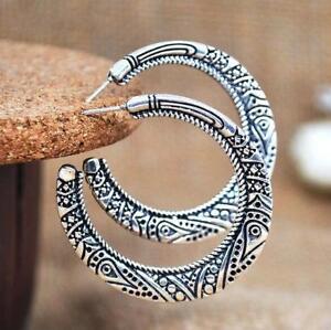 Boho 925 Silver Vintage Carving Circle Earring Hoop Women Wedding Engagement Lot