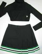 "Adult M Cheerleader Uniform Cheer Outfit 36"" Crop Top 27"" Skirt Black Green SEXY"