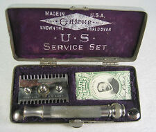WWI Gillette US Service Set Military Safety Razor Marked Property US Army (A)