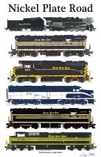 "Nickel Plate Road Locomotives 11""x17"" Railroad Poster by Andy Fletcher signed"