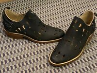 MUSSE & CLOUD ANISSE BLACK LEATHER CUTOUT Ankle Boots 5 35 M SLIP ON MEXICO NEW