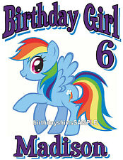 CUSTOM PERSONALIZED MY LITTLE PONY RAINBOW DASH MANE SIX  BIRTHDAY T SHIRT GIFT
