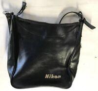 "Vintage 1970s Black Leather Nikon Camera Bag 12""x12"""
