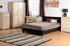 Faux Leather Black Brown Bedroom Furniture Wardrobe Chest Bed ALSO Grey Fabric