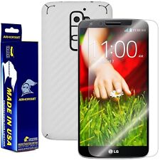 ArmorSuit MilitaryShield LG G2 Screen Protector + White Carbon Fiber Skin!!