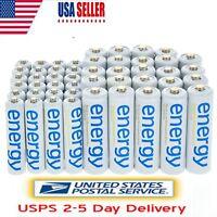 24x AA 3300mAh+24x AAA 2000mAh Ni-Mh Energy Rechargeable Battery White US Stock
