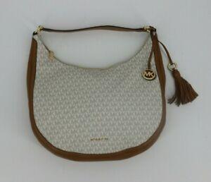Michael Kors Lydia Large Hobo Bag Purse Vanilla Off White Tan Brown Shoulder