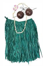 Hawaiian Hula Grass Skirt Set Real Raffia Coconut Bra Lei Hair Flower Large Gr N