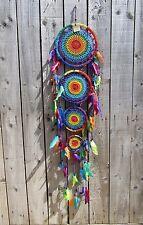 Hand Made Large Rainbow Crochet Dream Catcher Dreamcatcher Mobile Wall Hanging
