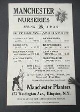 MANCHESTER NURSERIES, SPRING 1936 Flyer or Handbill, Kingston, NY