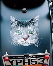 8x10 Handpainted Motorcycle Cat Art Photo Mural Portfolio Airbrush Artist-Gift