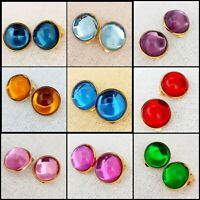 Large 2cm Round Vintage Glass Cabochon Gold tone Clip on Earrings