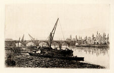 "WOW 1800s Original L. B. PHILLIPS Etching ""Kingston on Thames"" SIGNED COA"
