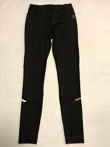 Reebok Black Gold Stretch Yoga Workout Leggings Mesh panels Size S