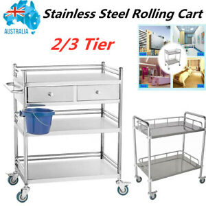Stainless Steel Dental Lab Rolling Trolley Medical Mobile Cart (Some Scratch) AU