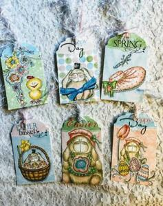 Set of 6 Hang Tags~Hoppy Easter~Gift Tags~Scrapbook~Cards~Embellishments~#319R