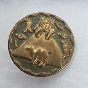 Antique Painted Brass Picture Button Egyptian Revival Pyramid Camel Pharaoh