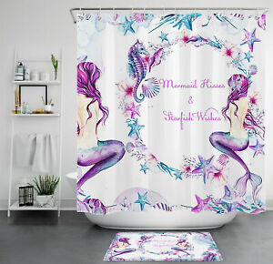 Atercolor Purple Marine Life Mermaid Starfish Shower Curtain Set Bathroom Decor