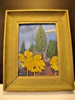 Forest Painting on Glass in 1950's Frame
