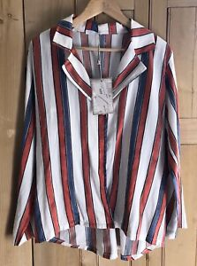 Made In Italy Blouse Top Red White Blue Stripe Summer Size 14 16 Uk