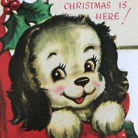 Vintage Mid Century Christmas Greeting Card Cute Puppy In Stocking Die Cut