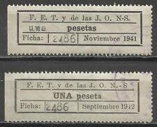 7093-2 SELLOS F.E.T.  Y DE LAS J.O.N.S,falange UNA peseta y una pesetas,diSTINTO