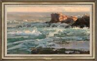 "Hand-painted Original Oil painting art Landscape ocean wave on Canvas 24""X40"""