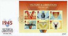 JERSEY 2015 FDC VITTORIA & liberazione 6V M / S COVER seconda seconda guerra mondiale Churchill