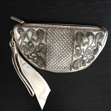 Sergio Rossi Champagne Beaded Clutch Purse Rare Authentic With Dust Bag