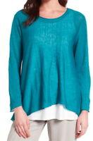 $218 Eileen Fisher Fine Organic Linen Crepe Knit Swing Top XSmall 2 4 Blue NWT