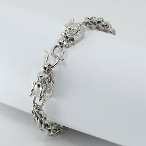Platinum Men Twin Dragon Bracelet 41.3 Grams