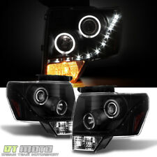 Black 2009-2014 Ford F150 Halo DRL LED Projector Halo Headlights Left+Right sets