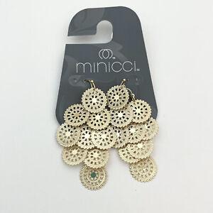 Minicci Gold Tone Multi Filigree Disc Circle Chandelier Earrings NEW