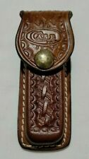 """VINTAGE CASE XX BROWN TOOLED BASKET WEAVED LEATHER FOLDING KNIFE """"SHEATH ONLY"""""""