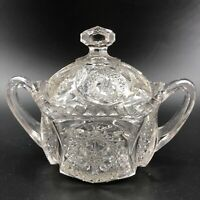Vintage Pressed Glass Two Handle Sugar Bowl with Lid & Finial Star Design