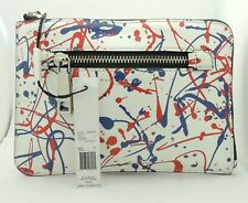 NEW Marc Jacobs M0008185 Leather Splatter Paint Medium Pouch in White Multi