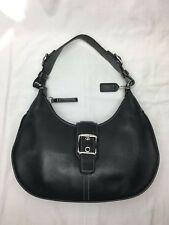 Coach Medium Black Leather Buckle Purse Hand Bag #H30-7548