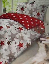 Schiesser Fein Biber Bettwäsche Set 2 teilig 155x220 cm Sterne Rot/Weiß
