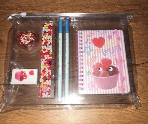 Set papeterie OBERTHUR carnet regle taille crayon gomme bonbons coeur NEUF