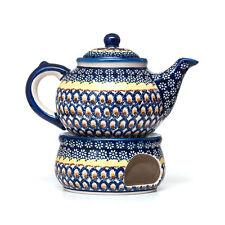 Bunzlauer Keramik Kanne mit Stövchen, Teekanne, Kaffeekanne Vol.1,5L Handarbeit