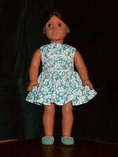 American Girl Doll Summer Recital Dress in Teal with white cording