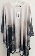 Topshop White Grey Festival Print Cape Poncho Dress by MARIOS JIMMY Designer New
