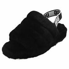 UGG Fluff Yeah Slide Womens Black Sheepskin Slippers Sandals