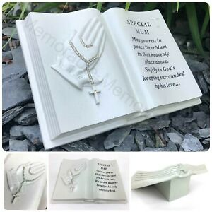 Memorial Praying Hands Open Book Rosary Beads Plaque Grave Ornament Tribute