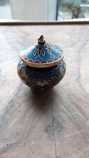Vintage Miniature CLOISONNE Jar Avec Couvercle