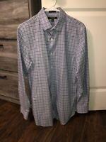 Banana Republic Men's Camden Fit Blue Button Up Long Sleeve Linen Shirt Size L