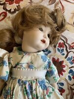 Beautiful Antique Heubach Koppelsdorf Germany Doll Sara Bisque Real Hair Glass