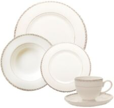 Stylish 20pc Silver Banded Bone China Dinner Set Cups & Sauces