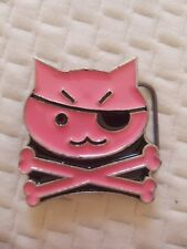 pink pirate kitty belt buckle