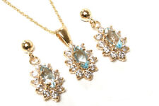 9ct Gold Blue Topaz and CZ cluster Pendant and Earring Set Made in UK Gift Boxed